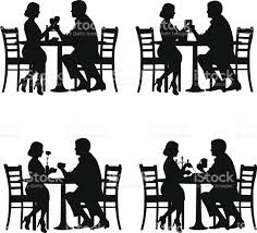 dinner silhouette romantic couple in dinner stock vector art 467042657 istock