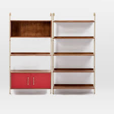 Wall To Wall Bookcases Linden Mid Century Wall Shelf Set With Storage West Elm