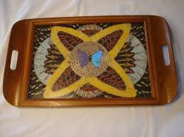 butterfly serving platter deco vtg inlaid butterfly wood tray handles blue center