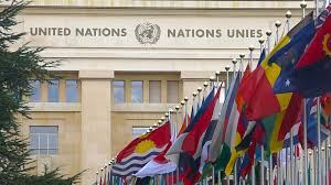 Flags Of Nations Flags In Front Of United Nations Organization Main Office In