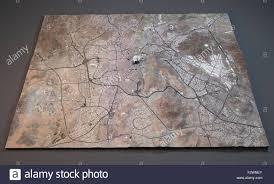 Satellite View Maps Map Of Mecca Satellite View Map 3d Saudi Arabia Stock Photo