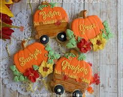decorated autumn fall thanksgiving mini shortbread sugar