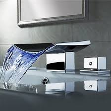 Widespread Bathroom Sink Faucet Senlesen Color Changing Led Waterfall Widespread Bathroom Sink
