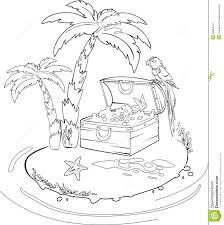 coloring book pirate and treasure chest on a tropical island