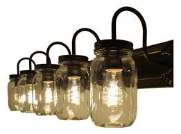 Mason Jar Vanity Fixture Industrial Bathroom Vanity Lighting 5 Light Bathroom Vanity Fixture