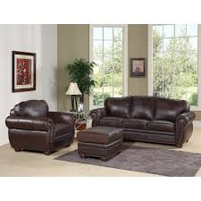 Leather Sofa And Armchair Abbyson Berkeley Brown Italian Leather Chair And Ottoman Sofa Set