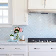 Carrara Marble Subway Tile Kitchen Backsplash by Young House Love Lovely Blue Herringbone Tile Marble Counters