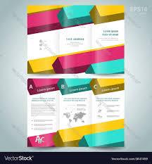 colored 3d line squares brochure design template vector image