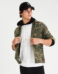 American Eagle Parka Aeo Camo Shirt Jacket Camo Green American Eagle Outfitters