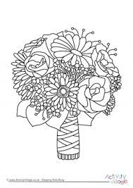 Wedding Flowers Drawing Smiling Flowers Colouring Page