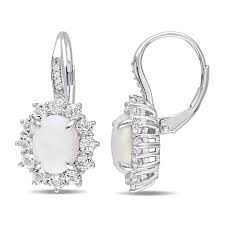 leverback diamond earrings genuine opal white topaz and diamond halo leverback earrings in