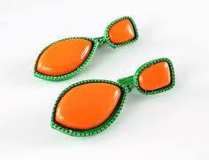 1960 s earrings vintage mod plastic hoop earrings orange brown 1960s by rmsjewels