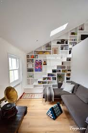 Loft Living Room by Chic Loft Living Room With Under Stairs Bookcase Also Simple White