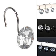 Rhinestone Shower Curtain Hooks 12pcs Box Shower Curtain Hooks Rhinestone Bling Slide Bathhroom