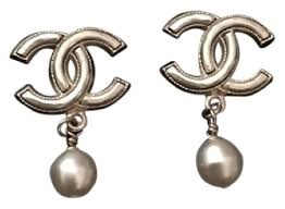 chanel gold sale large iconic cc pearl drop earrings tradesy