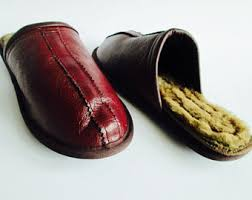 Mens Leather Bedroom Slippers by Men U0027s Slippers Etsy