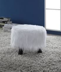 faux fur ottoman with storage furniture furry footstool premium white ottoman with faux fur by clever