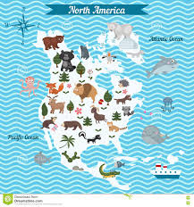 Map Of Nirth America by Cartoon Map Of North America Continent With Different Animals