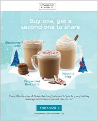 second cup canada buy one get one free every wednesday in
