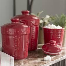 red kitchen canisters red kitchen canisters jars you ll love wayfair