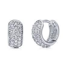huggie earring sterling silver cubic zirconia cz huggie earrings 0 5 e692