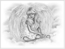 drawn angel little angel pencil and in color drawn angel little
