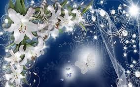 blue lilies flower flowers butterflies blue lilies glow nature flower