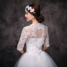 wedding dress jacket half sleeves lace appliqués with rhinestone bolero bridal jacket