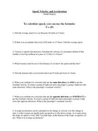 Speed Velocity And Acceleration Worksheet With Answers Guided Inquiry Lesson Speed Velocity And Acceleration By