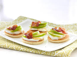 food canapes goat cheese apple and bacon canapes recipe food