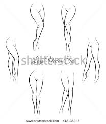 set various female legs hand drawn stock vector 613735928