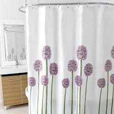 elegant fabric shower curtains purple color blue corner bathroom