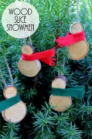wood slice snowmen ornaments the country chic cottage