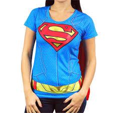 ladies halloween t shirts ladies dc comics superhero supergirl costume t shirt with cape