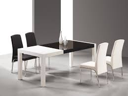 White Modern Dining Chair Dining Room Monochrome Furnished Wood Dining Table Black And