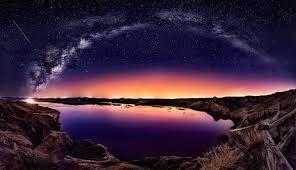 widescreen long exposure galaxy milky way starry night comet fence