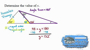 Measures Of Interior Angles Interior Angles Of An Isosceles Triangle To Find An Unknown Angle