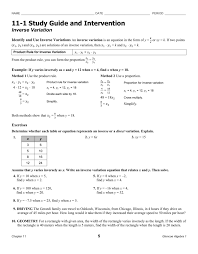 11 1 study guide and intervention inverse variation