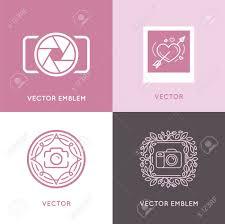 vector set of wedding photography logo design templates in trendy