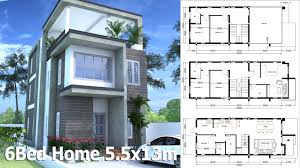 modern home plan sketchup modern home plan 5 5x13m with 6 bedroom