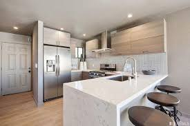 Contemporary Kitchen With Breakfast Bar  Hardwood Floors In San - Contemporary kitchen sink