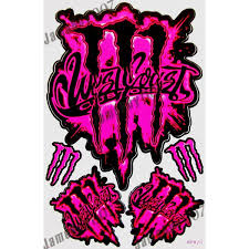 mrs0027 pink m0nster energy decals stickers motorcycle car