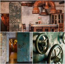 elegant steampunk bedroom 53 with additional office design with