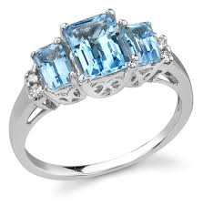 topaz gemstone rings images Three stone blue topaz and diamond ring 14k white gold jpg