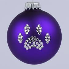 purple paw print ornament and cat paw print tree