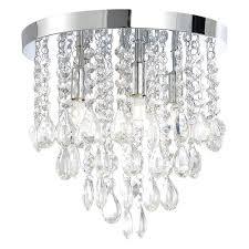 4 crystal droplet bathroom light w extractor fan chrome