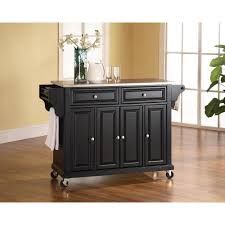 crosley black kitchen cart with natural wood top kf30051bk the