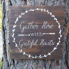 joyful island creations gather here with grateful hearts wood sign