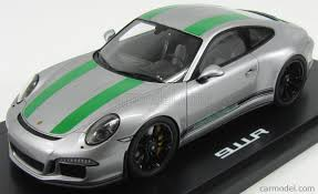 porsche 911r 991 911 r silver green 1 18 scale model car