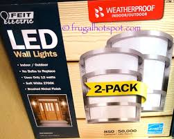 costco led lights outdoor costco sale feit electric led wall sconce 2 pk 33 99 frugal hotspot